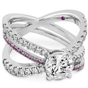 Hearts On Fire Harley Wrap Diamond and Sapphire Engagement Ring