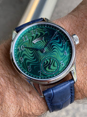 Estate SS 40.5mm Laine Gelidus Guilloche Green dial RG manual wind on strap  Serial# 8073 B&P
