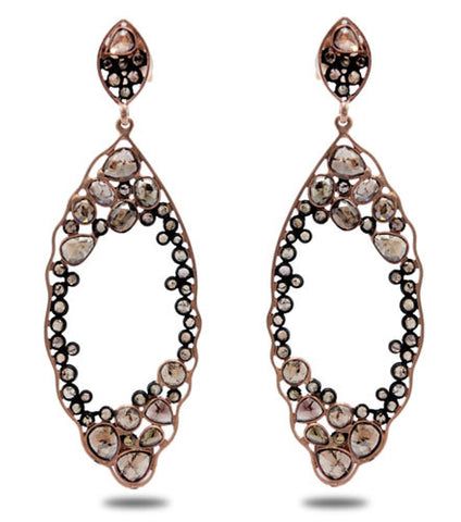 18K Rose Gold, Sterling Silver and Sliced Diamond Earrings