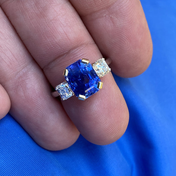 Passion Collection platinum/18K YG 5.28ct EC unheated Sri Lankan blue sapphire & Hearts On Fire Dream diamond 0.95ctw 3 stone ring.