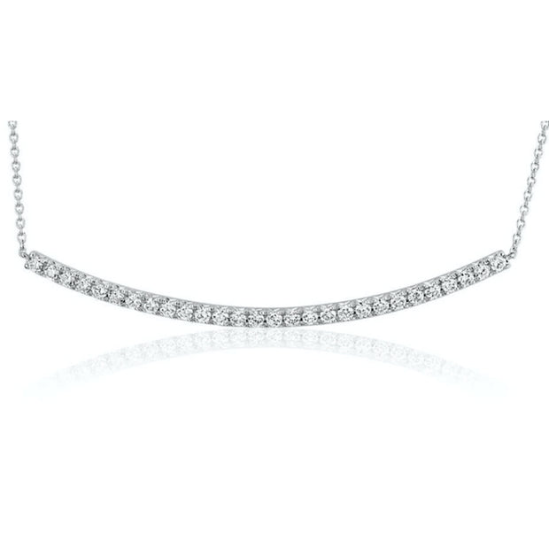 Passion Collection Curved Diamond Bar Necklace