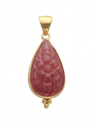 Steven Battelle Carved Ruby Drop Pendant Necklace