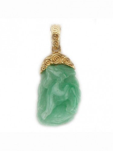 Steven Battelle Jade Shio Pendant Necklace