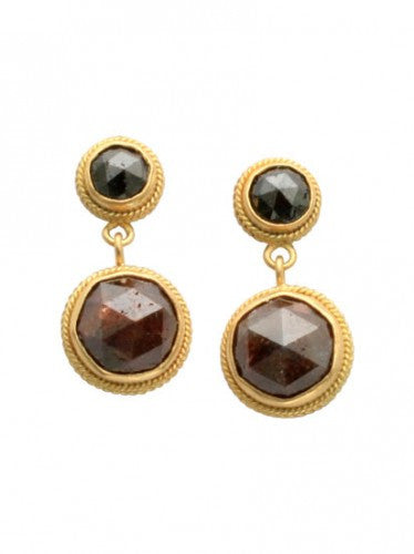 Steven Battelle Black Diamond Bead Earrings