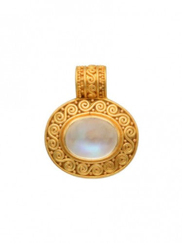 Steven Battelle 18K Gold Round Pendant Necklace