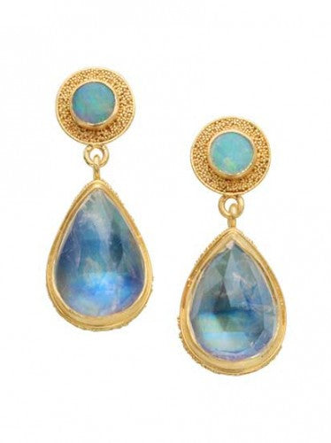 Steven Battelle Double Stone Opal Earrings