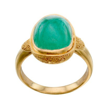 Steven Battelle Oval Ornate Emerald Ring