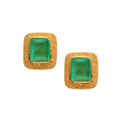 Steven Battelle Granulation Emerald Post Earrings