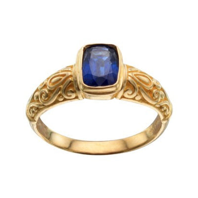 Steven Battelle Carved Cushion Ring