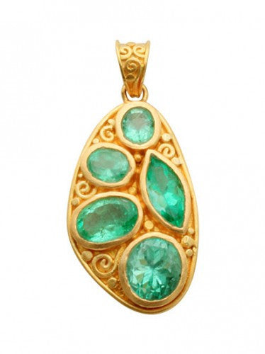 Steven Battelle Five Stone Emerald Pendant Necklace