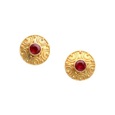 Steven Battelle Granulation Ruby Earrings