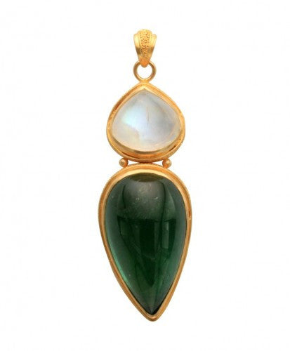 Steven Battelle Tourmaline Pear Pendant Necklace