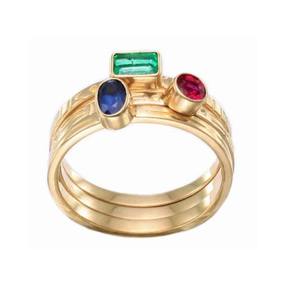 Steven Battelle Three Stone Stacking Ring