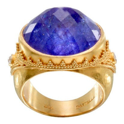 Steven Battelle Faceted Tanzanite and Diamond Ring