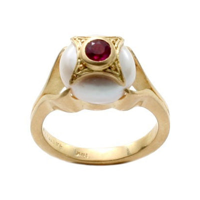 Steven Battelle Four Point Pearl and Ruby Ring