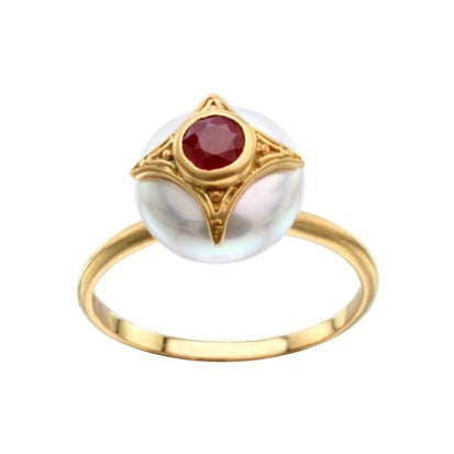 Steven Battelle Pearl and Ruby Ring