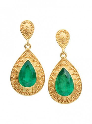 Steven Battelle Pyramid Emerald Earrings