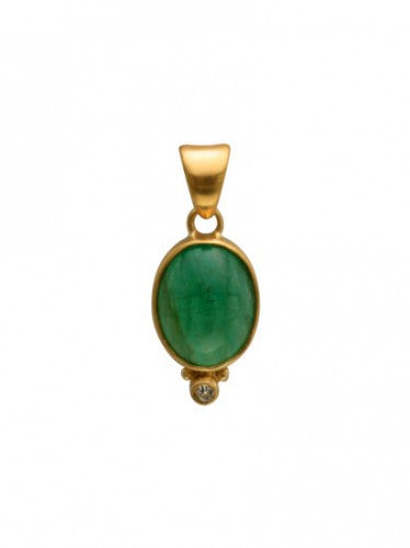 Steven Battelle Oval Emerald and Diamond Pendant Necklace