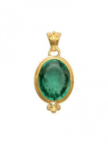 Steven Battelle Two Point Emerald Pendant Necklace