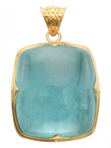 Steven Battelle Aquamarine Four Point Pendant Necklace