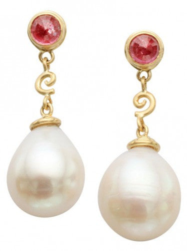 Steven Battelle Pearl Dangle Ruby Earrings