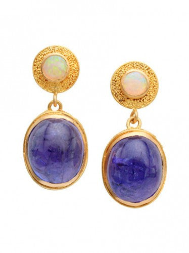 Steven Battelle Tanzanite and Opal Dangle Earrings