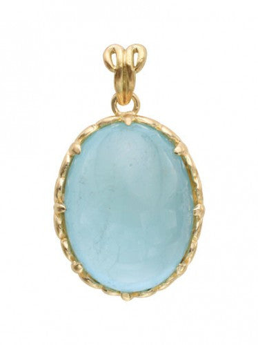 Steven Battelle Carved Aquamarine Pendant Necklace