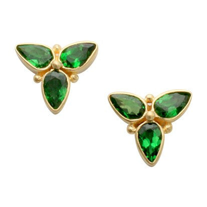 Steven Battelle Three Stone Tsavorite Earrings