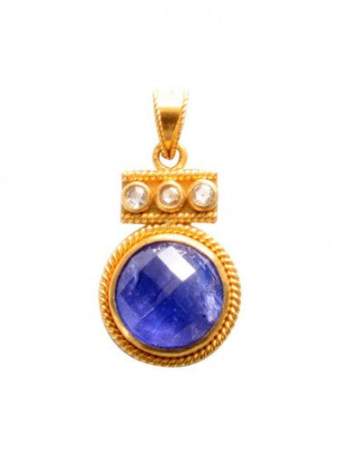 Steven Battelle Diamond and Tanzanite Bead Pendant Necklace