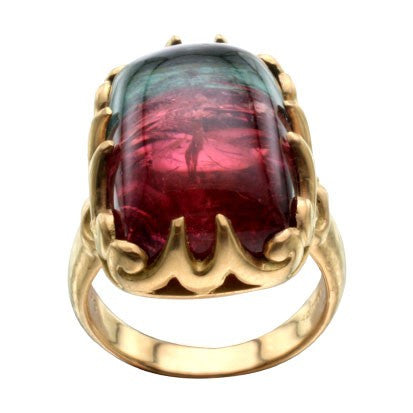 Steven Battelle Cabochon Watermelon Tourmaline Ring