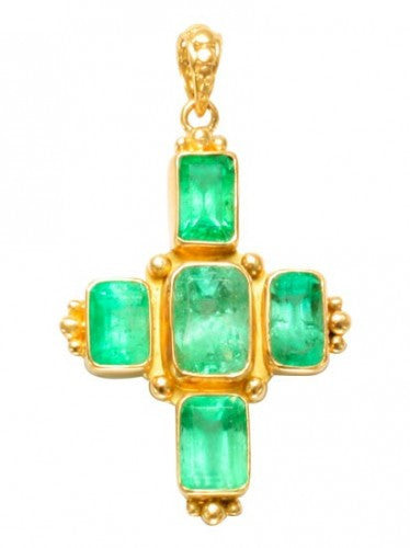 Steven Battelle Emerald Cross Pendant Necklace