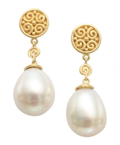 Steven Battelle Pearl Dangle Earrings