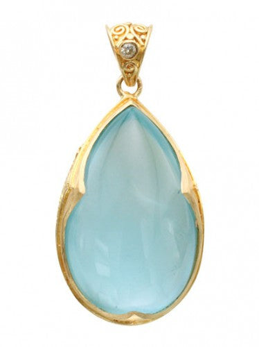 Steven Battelle Three Point Aquamarine Pendant Necklace