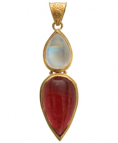 Steven Battelle Cabochon Double Drop Pendant Necklace