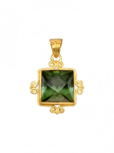 Steven Battelle 18K Gold Square Pendant Necklace