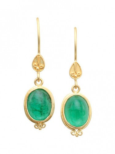 Steven Battelle Bone Emerald Earrings