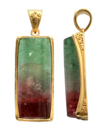 Steven Battelle Watermelon Tourmaline Pendant Necklace