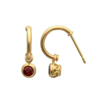 Steven Battelle Pipe Dangle Ruby Earrings