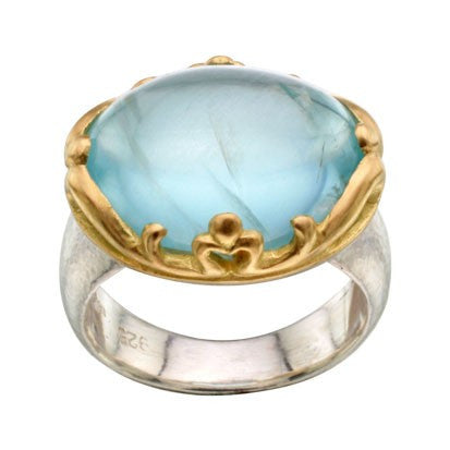Steven Battelle Bone Gold Bezel Aquamarine Ring