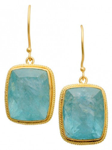 Steven Battelle Double Braid Aquamarine Earrings