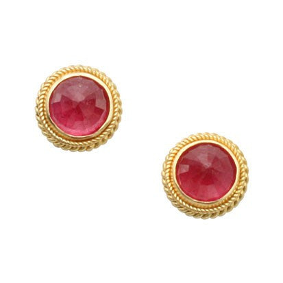 Steven Battelle Double Braid Ruby Earrings