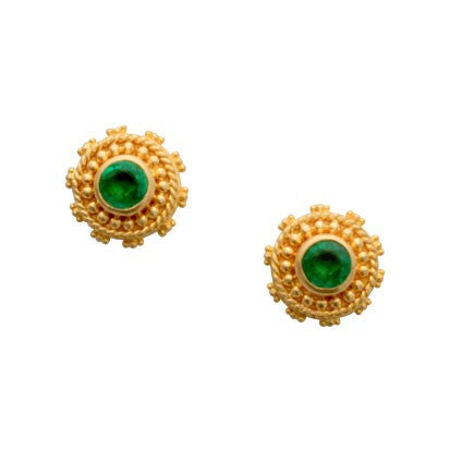 Steven Battelle Graduation Ornament Emerald Earrings