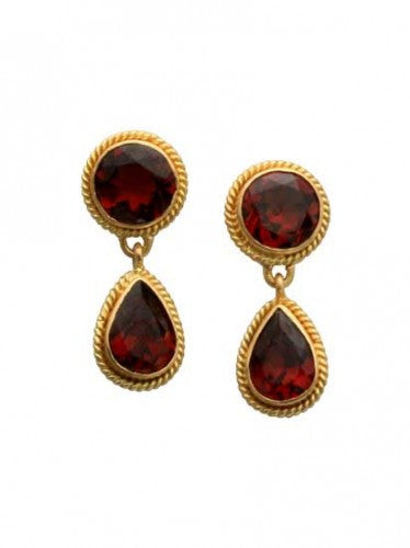 Steven Battelle Pear Braid Garnet Earrings