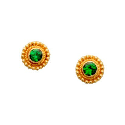 Steven Battelle Braid Tsavorite Earrings