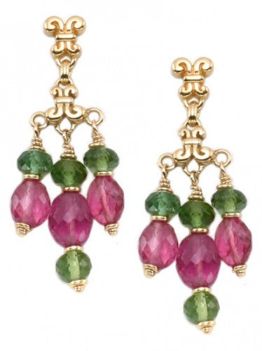 Steven Battelle Triple Tourmaline Dangle Earrings