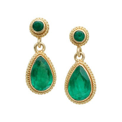 Steven Battelle Double Braid Emerald Dangle Earrings