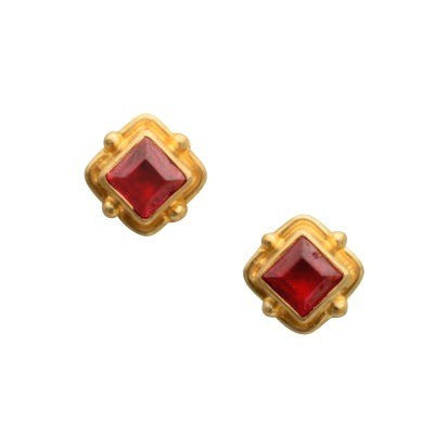 Steven Battelle Square Ruby Earrings