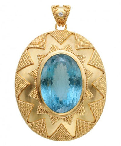 Steven Battelle Aquamarine Pyramid Pendant Necklace