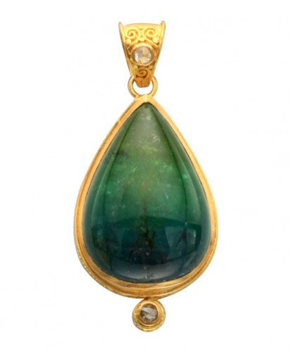 Steven Battelle Diamond and Tourmaline Pendant Necklace