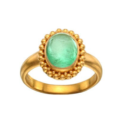 Steven Battelle Beaded Emerald Ring